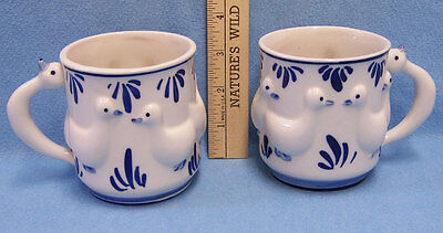 Vintage Goose Cup Delft Blue Duck Geese Hand Painted Pair 1984 DAIC Lot of 2