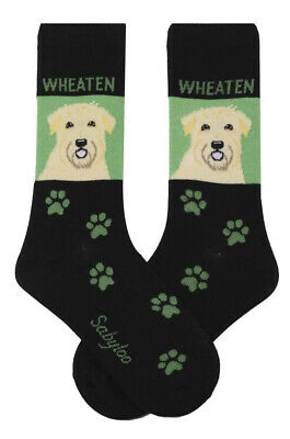 Soft Coated Wheaten Dog Socks Lightweight Cotton Crew Stretch Egyptian Made