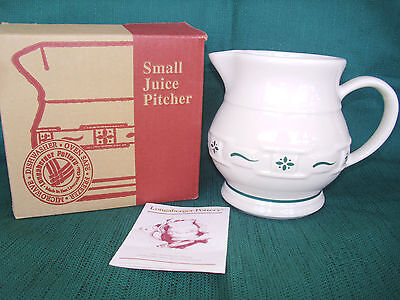 HERITAGE GREEN Pitcher USA East Liverpool Longaberger Sterling Pottery Hall