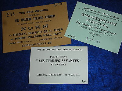 1955 1949 TICKET london THEATRE COMPANY NOAH shakespeare FESTIVAL southwark ART
