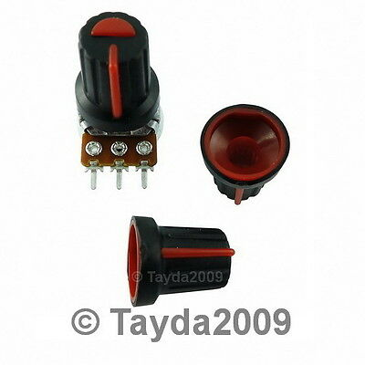 10 x Black Knob with Red Pointer - Soft Touch - High Quality - Free Shipping