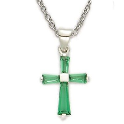 ELT Womens Girls .925 Silver  May Emerald Birthstone Baguette Cross Pendant