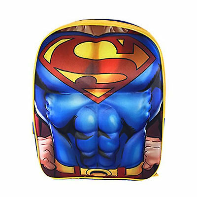 """DC Comics Superman Logo Muscle Molded Chest 16"""" Backpack Boys School Bag for Kid"""