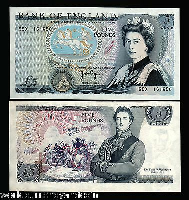 Great Britain 5 Pounds 378A Queen Unc Horse Battle England Bill Currency Uk Note