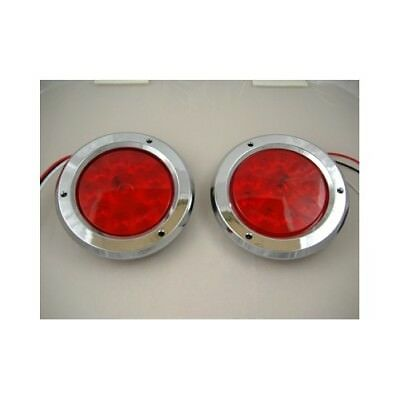 "Red 10 LED 4"" Round Trailer Truck Stop Turn Brake Tail Light Kits / Chrome Bezel"