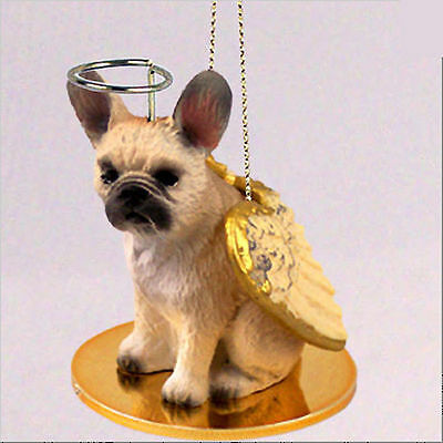 French Bulldog Dog Figurine Ornament Angel Statue Hand Painted Fawn