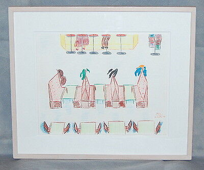 Ivan Koota Original Color Pencil Drawing Study for Colony Diner Painting 1993