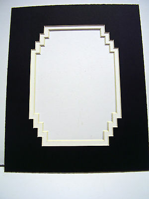 Picture Mat French Stairstep Design Black Double Mat 11x14 for 8x10 photo