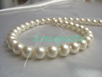 """15.5"""" 12mm white round freshwater pearl AAA grade loose  beads wholesale"""