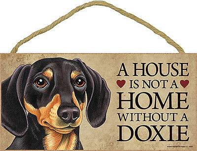 Dachshund Indoor Dog Breed Sign Plaque – A House Is Not A Home Blk/Tan + Bonu...