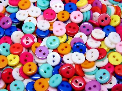 500 x 9mm Mixed Round Acrylic Resin 2 Hole Buttons Scrapbooking Craft F125