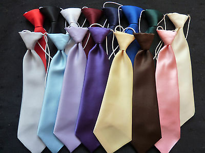 TIES ON ELASTIC FOR BOYS/CHILDREN - SATIN FINISH - lots of colours
