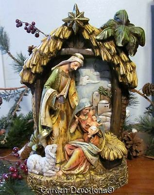"""Incredible 15"""" NATIVITY & STABLE CENTERPIECE Gold Accents BETHLEHEM BACK-DROP"""