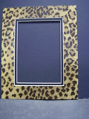 Picture Mat Leopard 8x10 for 5x7 photo Cheetah Animal Print Double Mat