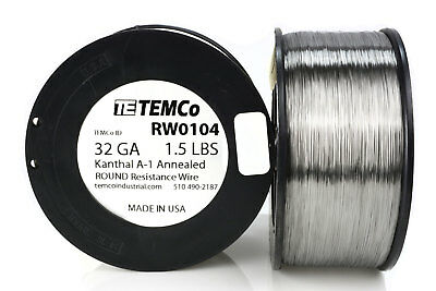 TEMCo Kanthal A1 wire 32 Gauge 1.5 lb (9709 ft) Resistance AWG A-1 ga