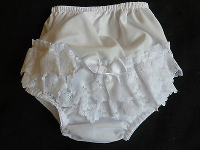 Frilly Baby Pants, White Poly/cotton With Lace Trim- 0-3.. 3-6.. 6-12.. 12-18