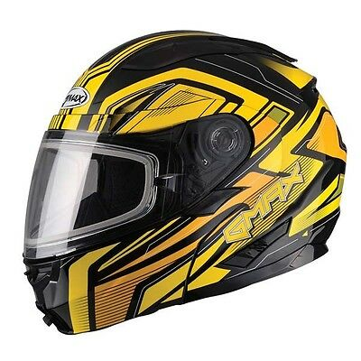 Yellow Helmet Modular Vortex Snow Snowmobile Inner Flip Lens Led Gmax Gm64