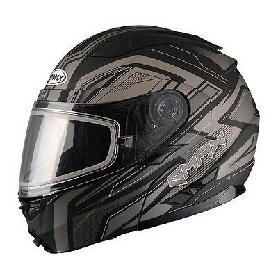 Black Silver Helmet Modular Vortex Snow Snowmobile Inner Flip Lens Led Gmax Gm64