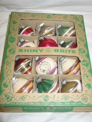 Vintage Christmas Glass Shiny Brite Ornaments Ufo Shapes Indents Tops Mica Snow