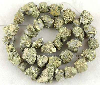 7x10-9x13mm Beautiful Pyrite rough freeform loose Beads 15''