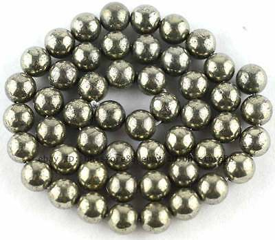 8mm Beautiful Natural Pyrite round loose Beads 15''