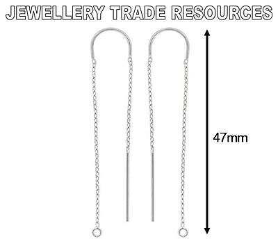 STERLING SILVER EARRING EAR CABLE CHAIN THREADER DROPPER HOOK WIRE + RING 47mm