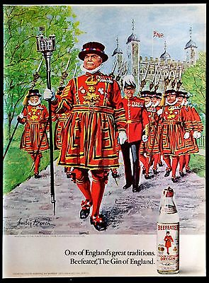 1972 Beefeater Dry Gin Magazine Ad England's Great Tradition