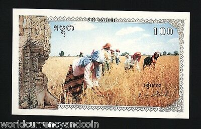 Cambodia 100 Riels P R5 1993-1999 Unc Khmer Rouge Influence Angkor Statue Note