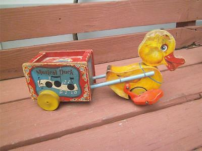 Vintage 1952 Fisher Price Musical Duck No 795 Wooden Pull Along Toy