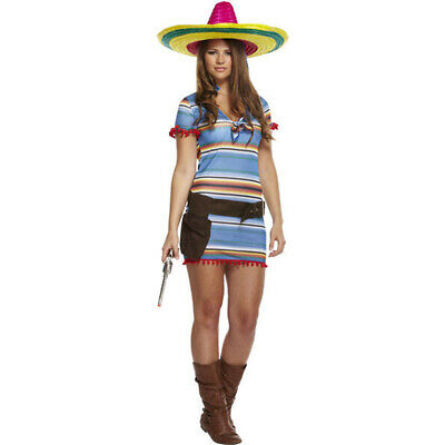 Ladies Mexican Fancy Dress Poncho Western Senorita Costume Womens Small Uk 8-10