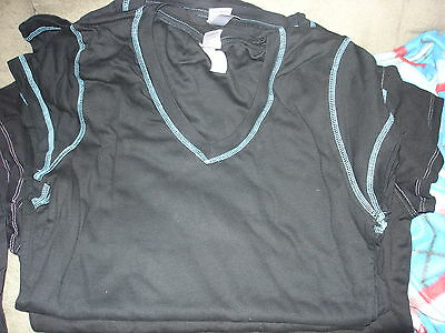 Blank Adult V Neck Black Tee Shirt With Greenish Boarder Lot Of 6