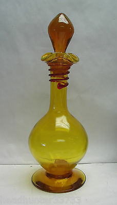 VINTAGE 1960s BLENKO ART GLASS DECANTER by JOEL MYERS - YELLOW w/ RED THREADING