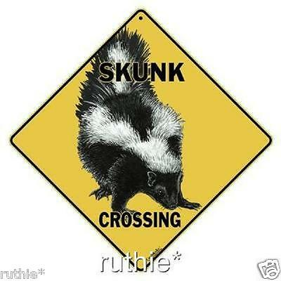 """Skunk Metal Crossing Sign 16 1/2"""" x 16 1/2"""" Diamond Shape made in USA #253"""