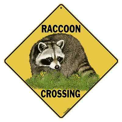 "Raccoon Metal Crossing Sign 16 1/2"" x 16 1/2"" Diamond shape Made in USA #55"