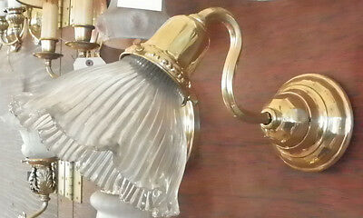 Antique Single Armed Brass Sconce With Unsigned Holophane Shade 5376