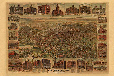 California Los Angeles 1891 Map Eye View Travel Vintage Poster Repro FREE S/H