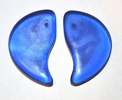 Antique Czech Molded Blue Glass Tabular Lion Claw Wedding Beads, African Trade