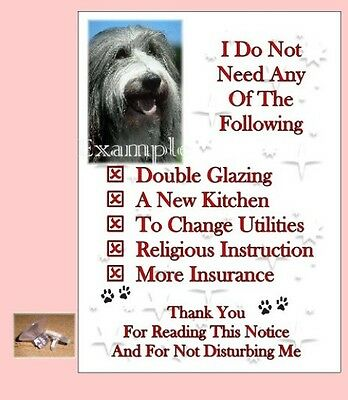 Bearded Collie Dog House Sign + Suction Cup