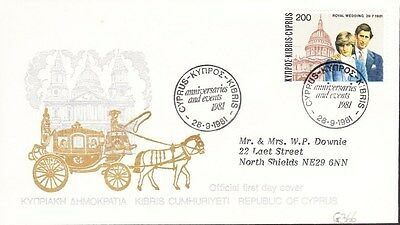 1981 Cyprus Royal Wedding First Day Cover Kibris Postmark G366