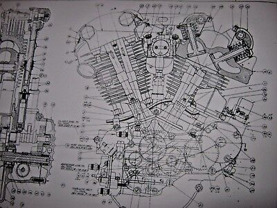 Harley Knuclehead Engine Technical Drawing BLUEPRINT EL Davidson parts print vtg