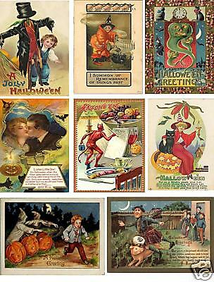 Vintage Halloween Postcard Collage Sheet           A34