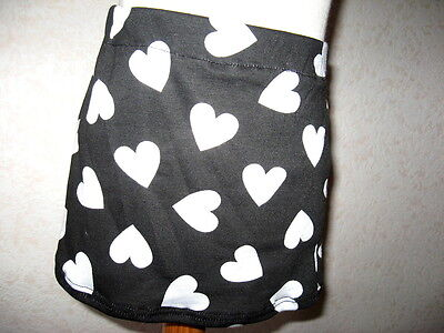 NEW Girls Black white pink blue hearts jersey tube Short skirt Goth Rock Party