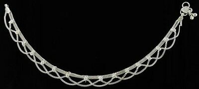 ANKLET: DRAPED SILVERTONE Wicca Witch Pagan Belly Dance Goth Punk Retro Hippie