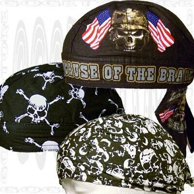 Sweat Warriors Black Pirates Bandanna Skull Cap Wear Do Black Biker Doo Rags
