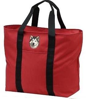 ALASKAN MALAMUTE embroidered tote bag ANY COLOR