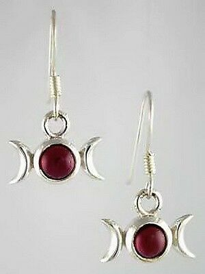 TRIPLE GODDESS RED GARNET CRYSTAL EARRINGS Wicca Witch Pagan Goth Punk Hippie