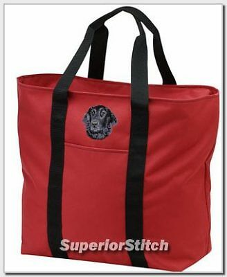 FLAT COATED RETRIEVER embroidered tote bag ANY COLOR