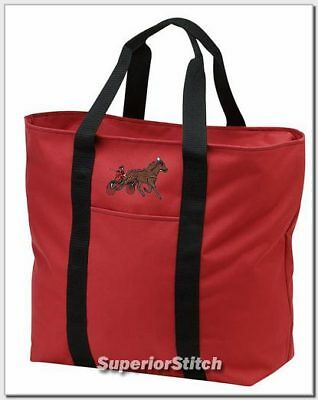 SULKY RACING horse embroidered tote bag ANY COLOR