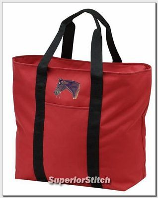 THOROUGHBRED horse embroidered tote bag ANY COLOR