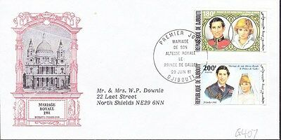 1981 Djibouti Royal Wedding First Day Cover Premier Jour Postmark G407